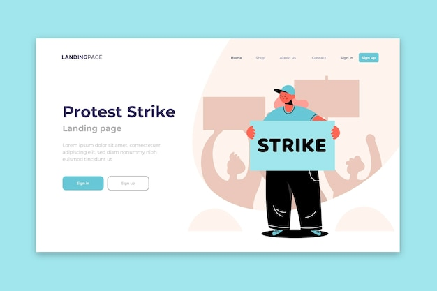 Protest strike with character landing page