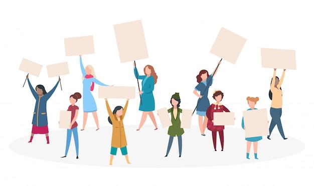 抗議する女性。兆候、デモのプラカードを持つ少女フェミニズム。女性の権利