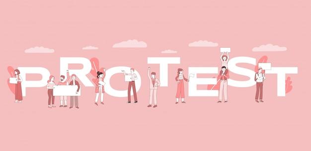 Шаблон слова концепции протеста баннер. демонстрация, активизм, общественное движение или политическая встреча дизайн плаката концепции.