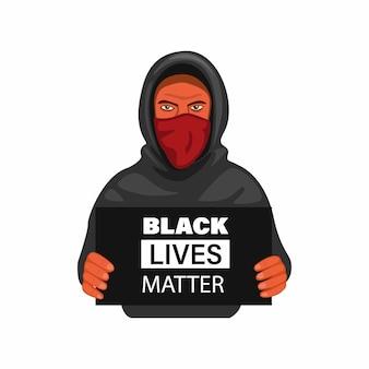 抗議者の男は、白い背景の上の漫画イラストの黒と白の看板を保持しているおかしとマスクを着用します。