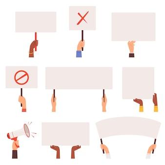 시위대 배너. 손을 잡고 빈 판넬. 활동 표현 군중 갈등 시위자. 데모 시위, 동요 자유 그림 프리미엄 벡터
