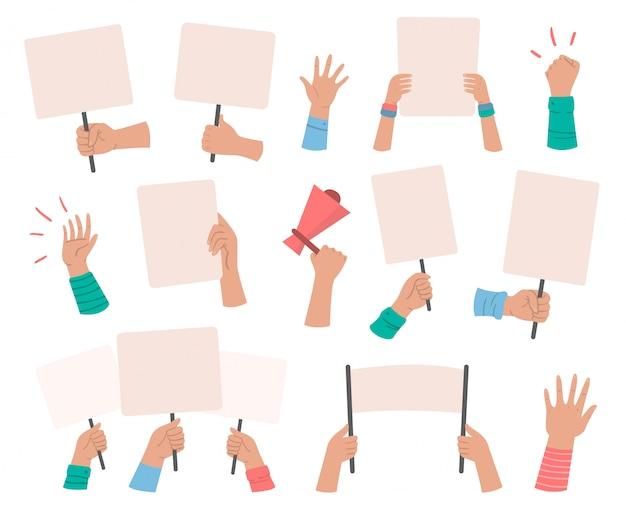 시위대 배너, 표시 기호 현수막 손에 잡고, 평화 항의 포스터 및 빈 투표 플래 카드 격리 설정