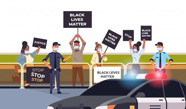 Protesters crowd with black lives matter banners campaign against racial discrimination in police support for equal rights of black people