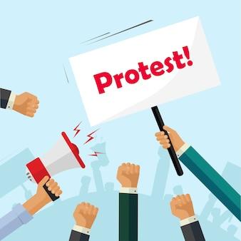 抗議の標識、群衆の人々、政治、活動家の拳を保持している抗議者の手