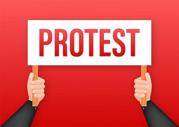 Протестующие руки держат знаки протеста. векторная иллюстрация штока.