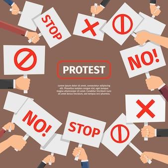 抗議者の人々の概念。抗議はテキストでフレームに署名します。抗議と革命のための看板、バナーとシンボルの看板。