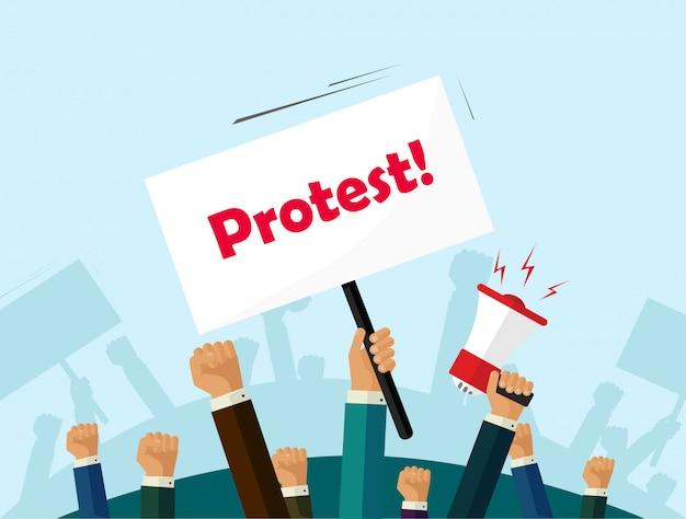 抗議者の人々の群衆は、抗議テキストフラット漫画と革命または政治のプラカードを保持