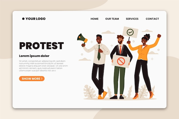 Protesters strike with placards landing page