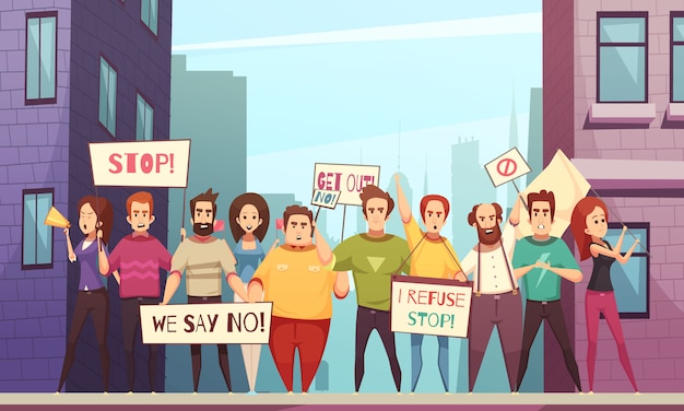 Protesting crowd vector illustration