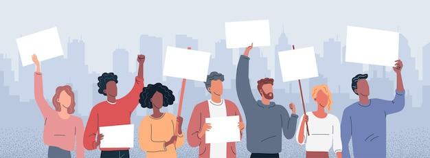 항의 불만 사람들은 포스터 벡터 개념 삽화로 군중