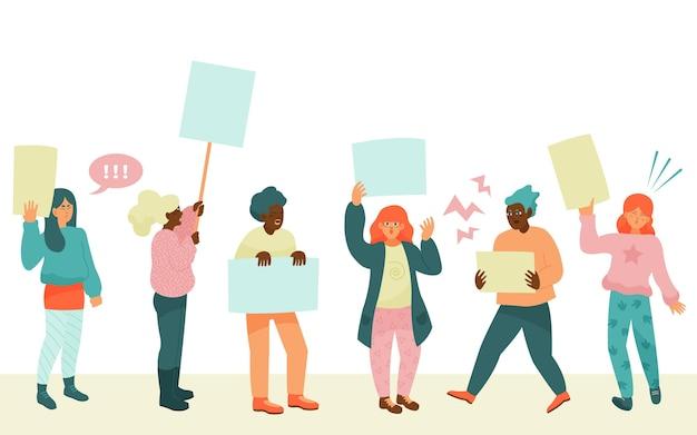 抗議する人々のグループ