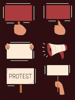 Protesting hands and banner