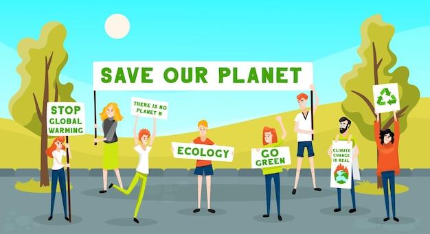 시위하는 사람들 활동가 생태학은 야외 풍경과 젊은 시위자 캐릭터 그룹으로 녹색 구성으로 이동합니다.