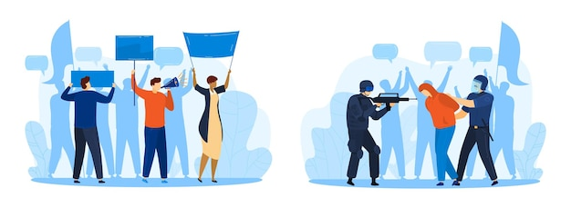 Protesting people, aggression, resistance isolated  illustration.