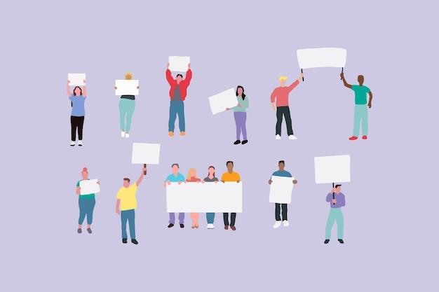 Raccolta di persone che protestano