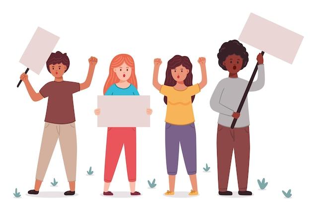 抗議する人々のコンセプト