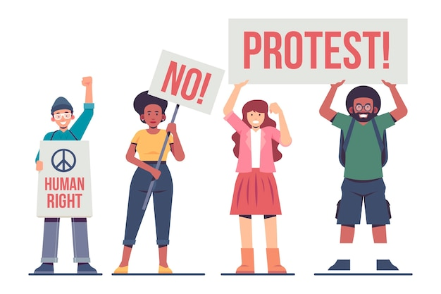 Protesting people concept