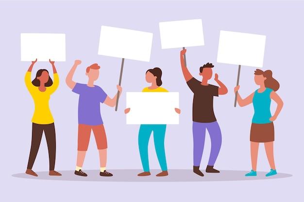抗議する人々のイラストテーマ