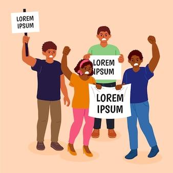 抗議する人々の図のコンセプト