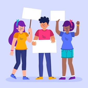 Протестующие люди иллюстрации концепции