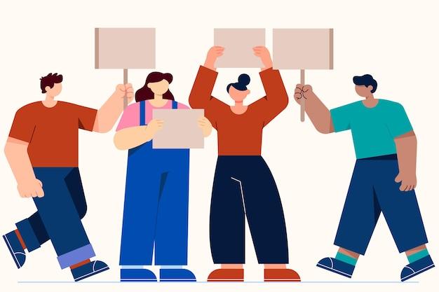 Иллюстрация протестующих людей