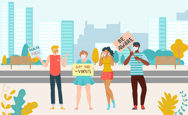 Protesting people rally for health crowd with placards, social rights demonstration, group of demonstrators flat   illustration.