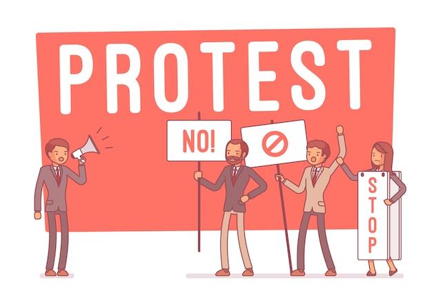 Protesting people at strike