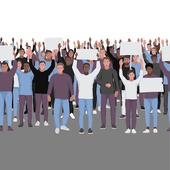 웹 배너 포스터를 위한 텍스트 장소가 있는 매끄러운 테두리 템플릿을 손으로 들고 시위하는 사람들