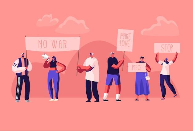 ストライキやデモでプラカードや看板を持って人々に抗議する