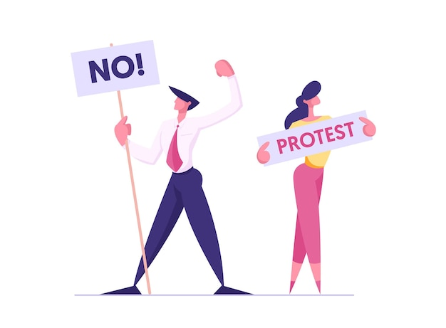 Protesting people with placards on demonstration illustration