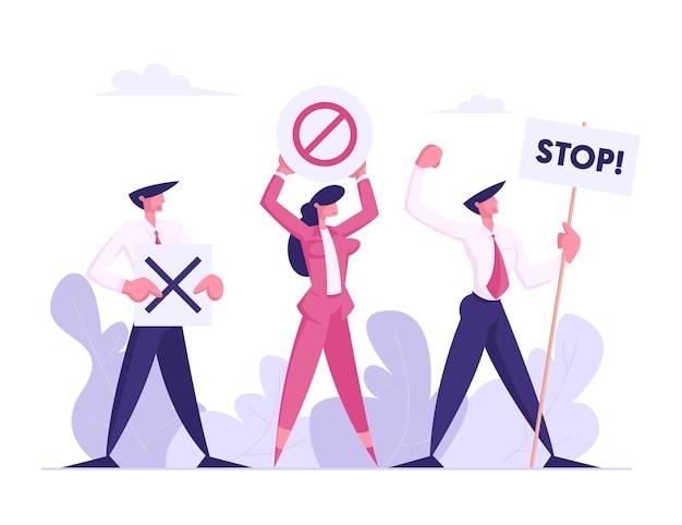 파업 또는 데모 평면 그림에 플래 카드로 시위하는 사람들