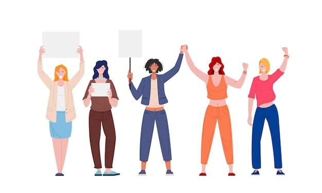 흰색 배경에 고립 된 빈 플래 카드와 시위 여성 페미니스트 운동가