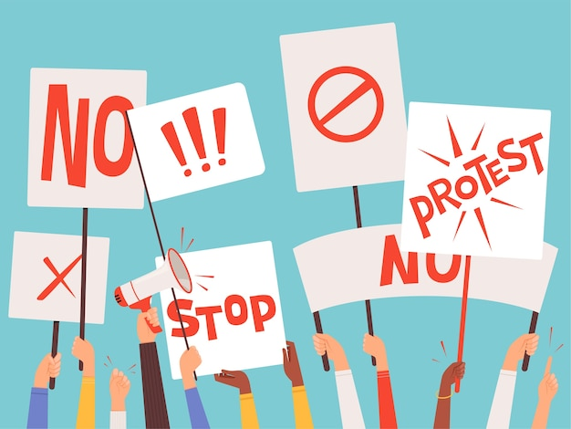 Protestors banners. hand holding blank placards of political manifestation signs vector background concept. protesting and demonstrator with megaphone, agitation for freedom illustration
