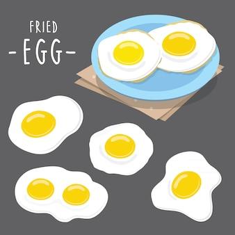 揚げ卵料理料理の食事protien健康朝食ベクトル