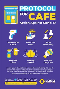 Protocol for cafe poster in flat design style