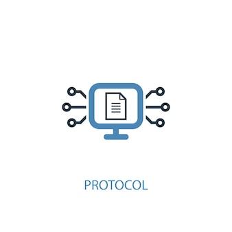 프로토콜 개념 2 컬러 아이콘입니다. 간단한 파란색 요소 그림입니다. 프로토콜 개념 기호 디자인입니다. 웹 및 모바일 ui/ux에 사용할 수 있습니다.