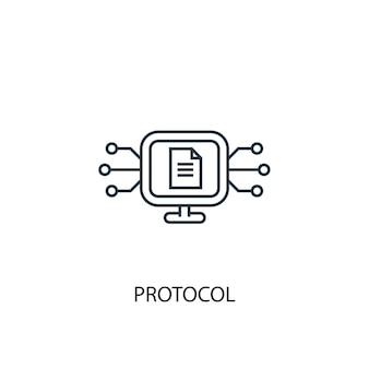프로토콜 개념 라인 아이콘입니다. 간단한 요소 그림입니다. 프로토콜 개념 개요 기호 디자인입니다. 웹 및 모바일 ui/ux에 사용할 수 있습니다.