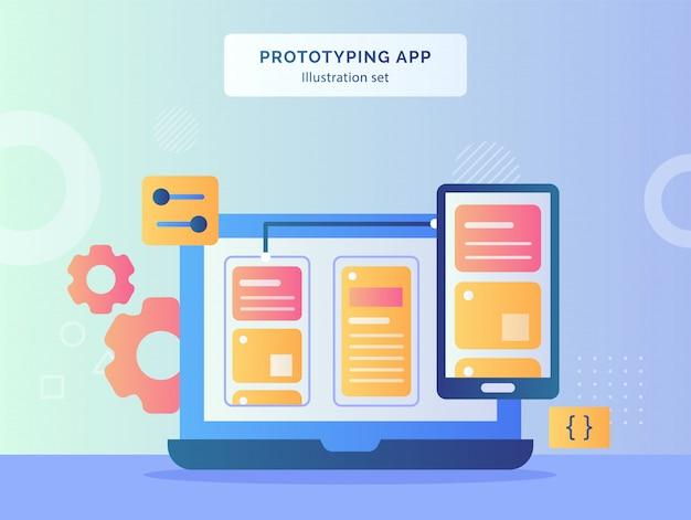 Иллюстрация приложения для прототипирования пользовательского интерфейса на экране смартфона компьютера с плоским стилем