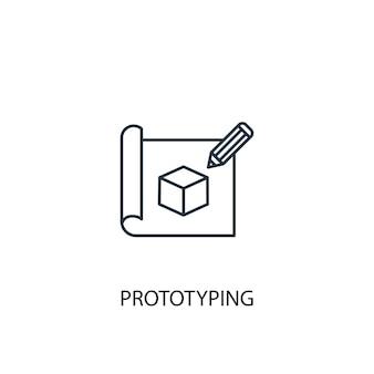 Значок линии концепции прототипирования. простая иллюстрация элемента. концепция прототипирования наброски символа дизайна. может использоваться для веб- и мобильных ui / ux