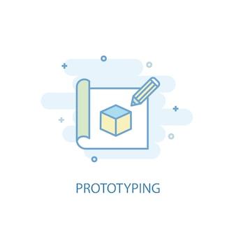 Концепция линии прототипирования. значок простой линии, цветные рисунки. прототипирование символа плоский дизайн. может использоваться для ui / ux