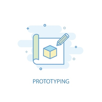 Prototyping line concept. simple line icon, colored illustration. prototyping symbol flat design. can be used for ui/ux