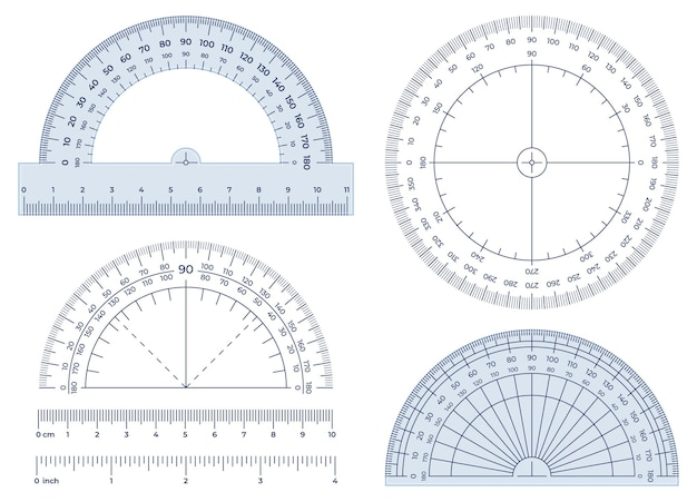 Транспортир. инструмент для измерения углов, круглая 360-градусная шкала транспортира и набор иллюстраций для измерения на 180 градусов.