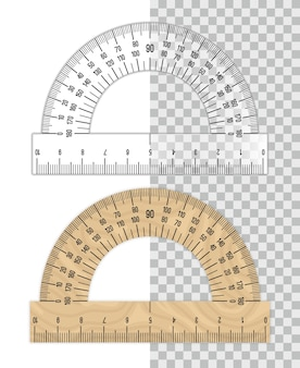 Protractor ruler. plastic and wooden protractors isolated on white
