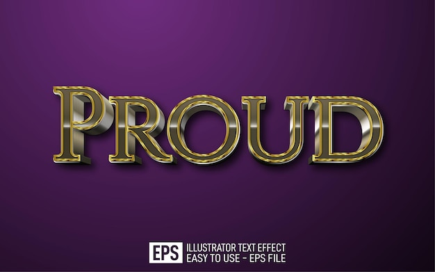 Proud 3d text editable style effect template