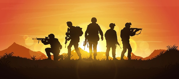 Гордые солдаты армии после победы