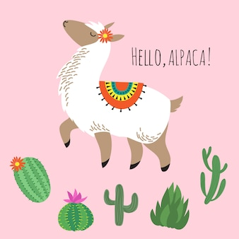 Proud awesome lama and cactus