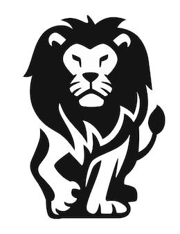 誇り高き黒いライオンの正面図。