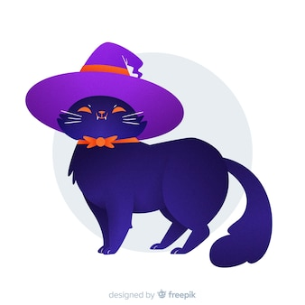 Proud cat wearing a witch hat