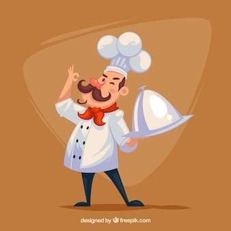 Гордый шеф-повар с подносом