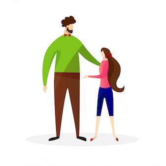 Proud dad with his daughter. vector illustration.